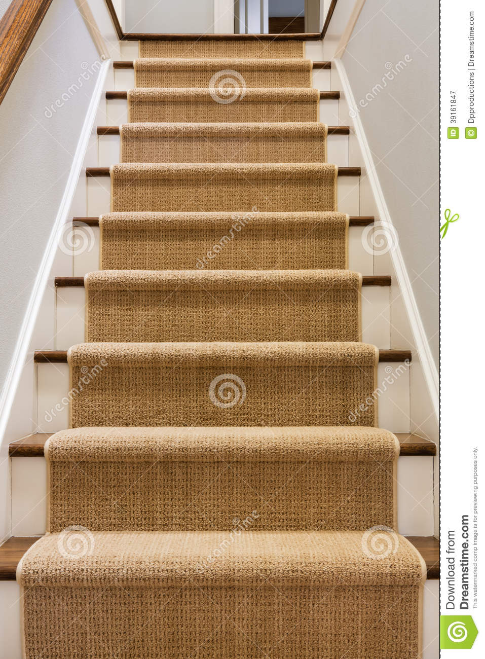 Wooden Staircase With Carpet Runner Stock Image Image Of