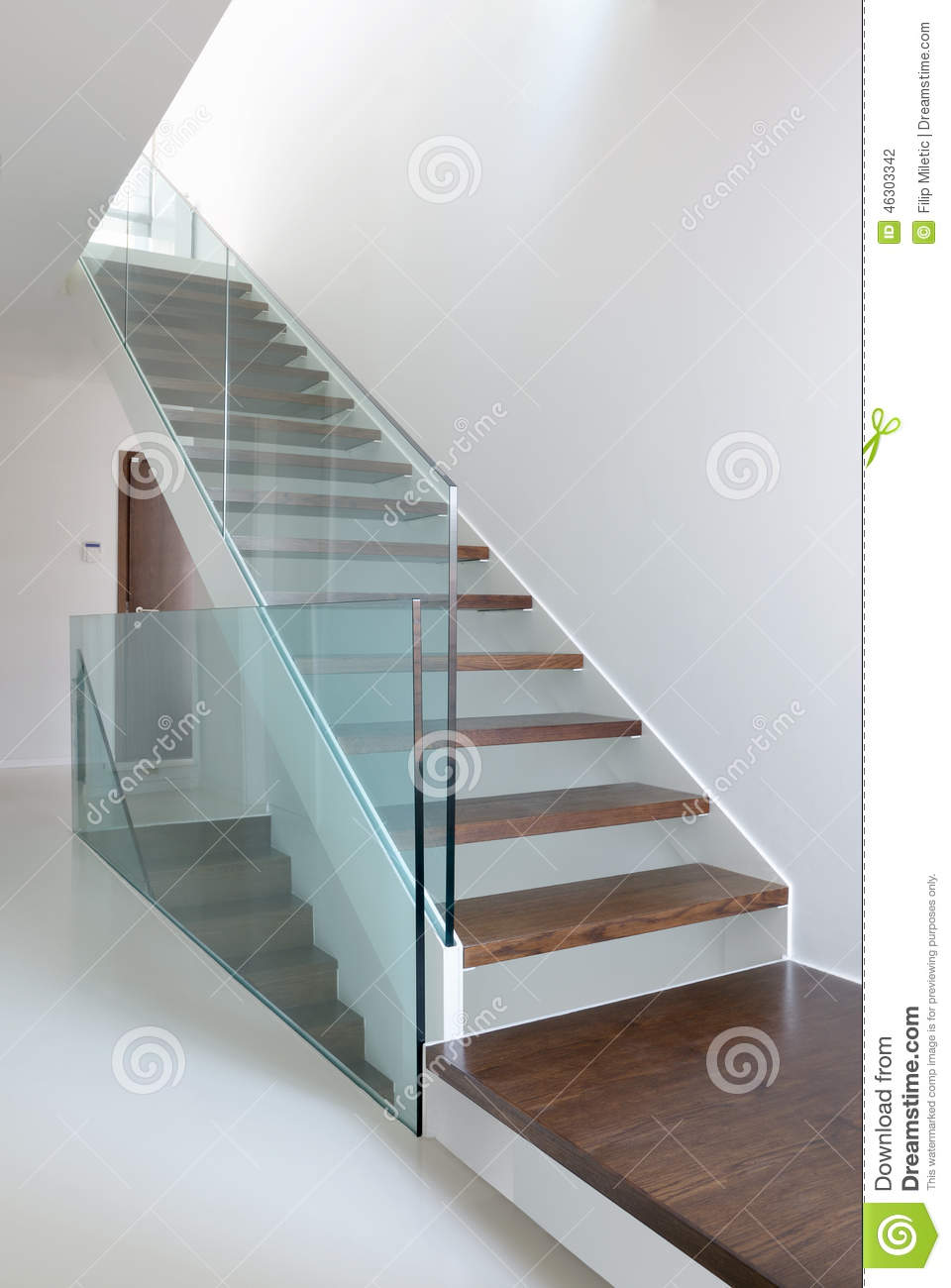 wooden stairs with glass balustrade stock photo image. Black Bedroom Furniture Sets. Home Design Ideas