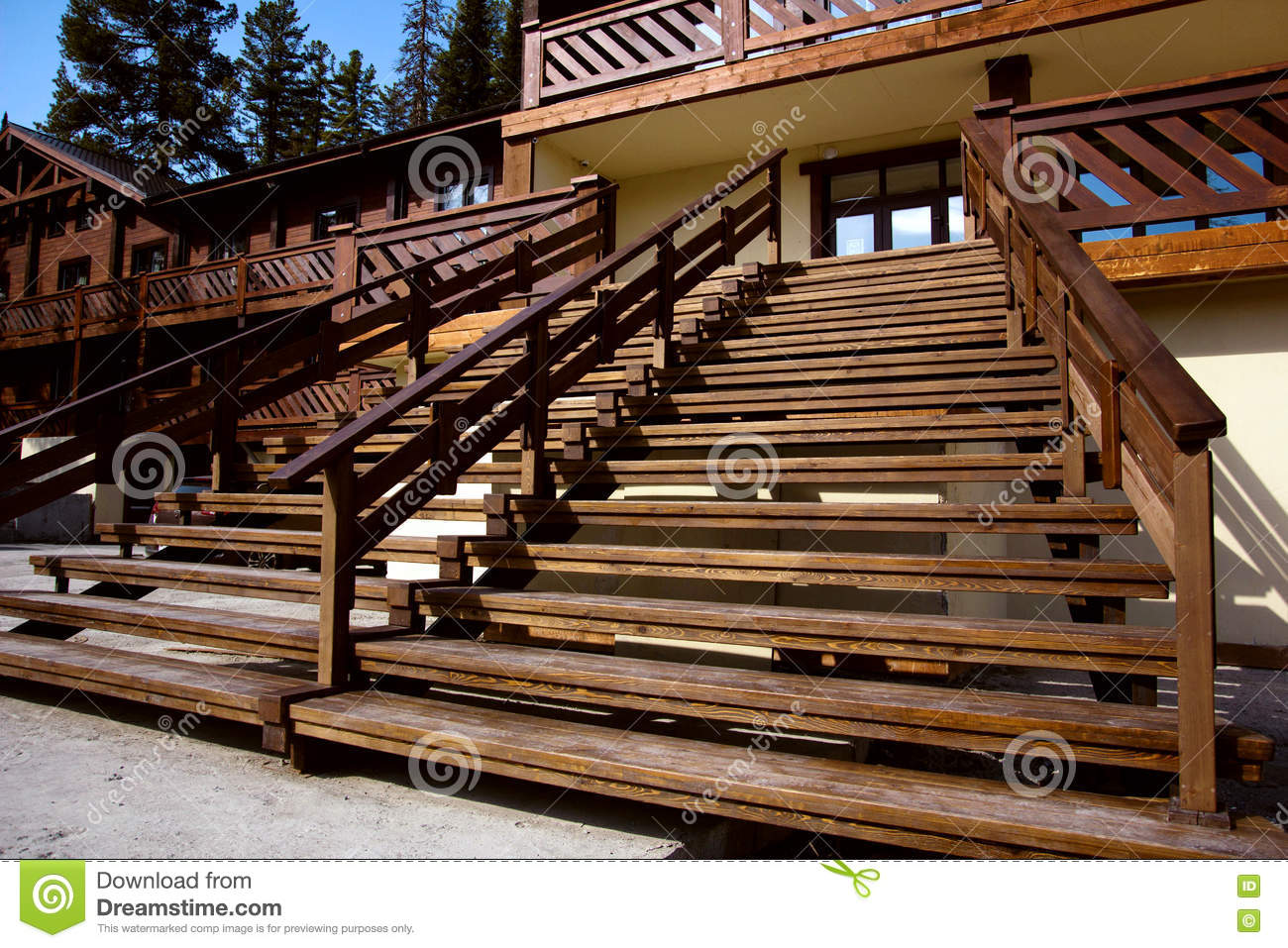 Wooden Stairs To The Street. Terrace. Entrance The House.