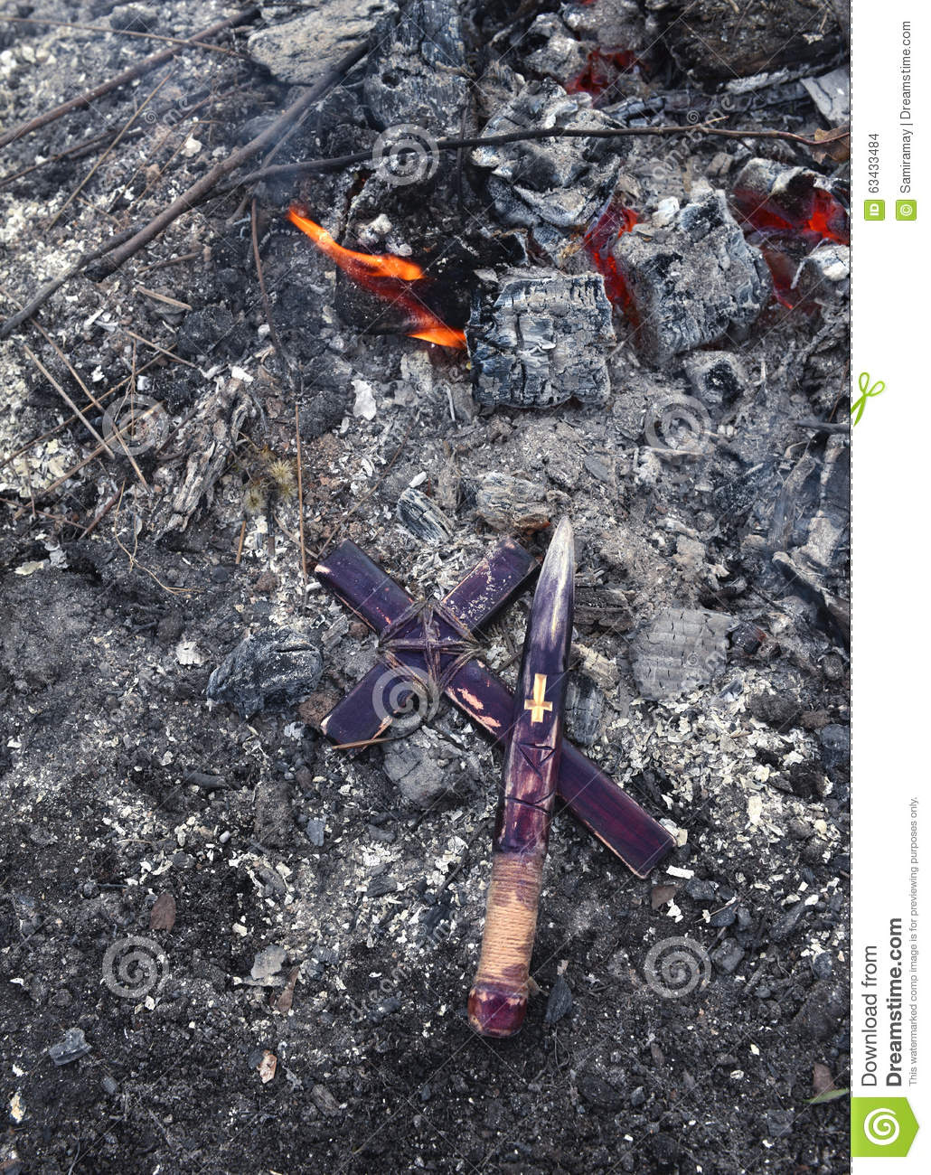 Wooden Stake And Cross By Fire, Vampire Theme Stock Photo - Image of