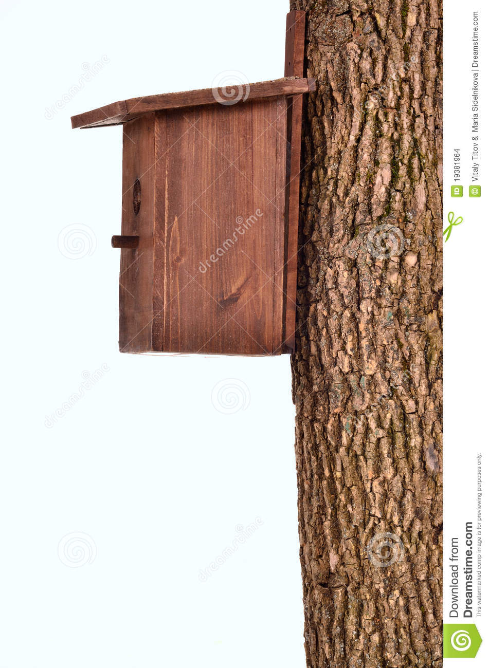 Wooden starling-house on a bole isolated