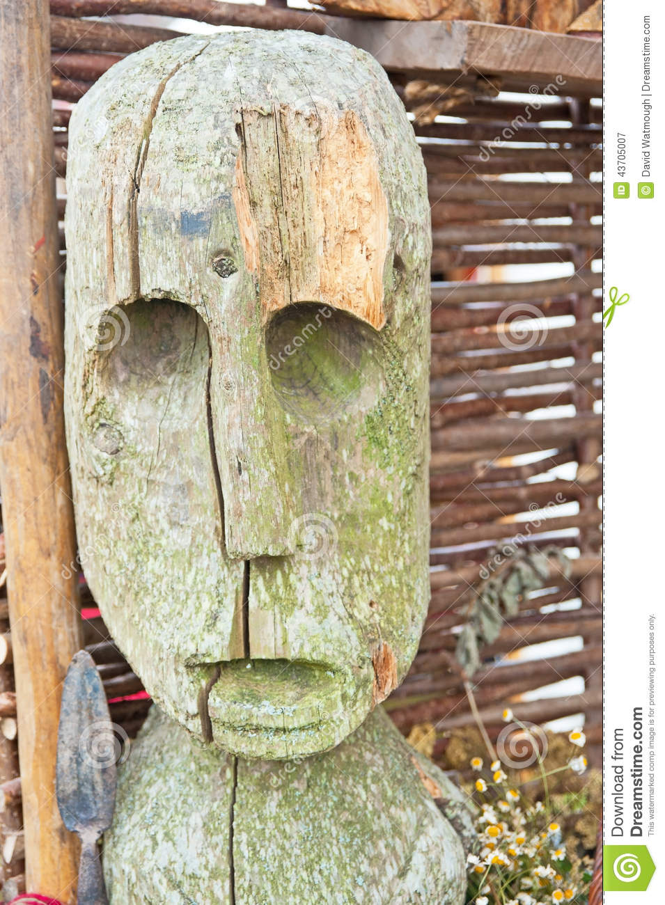 Wooden Statue Of Celtic Period Stock Image - Image of history