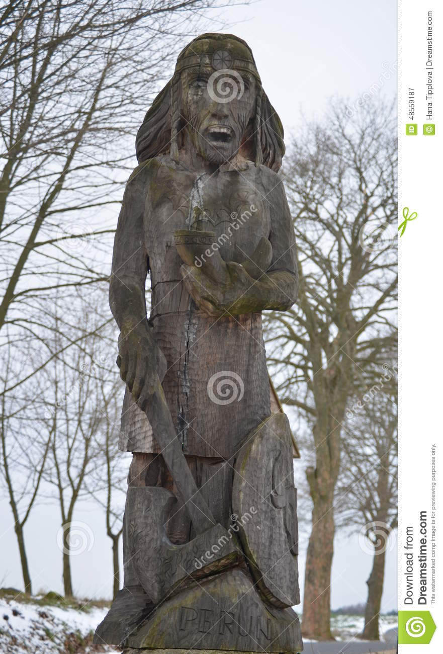 Wooden statue of the god Perun