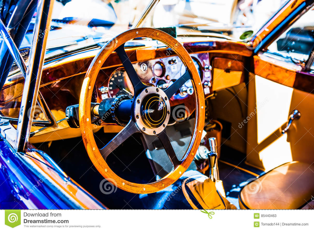 Wooden Steering Wheel And A Dashboard Stock Image Image Of Nouns
