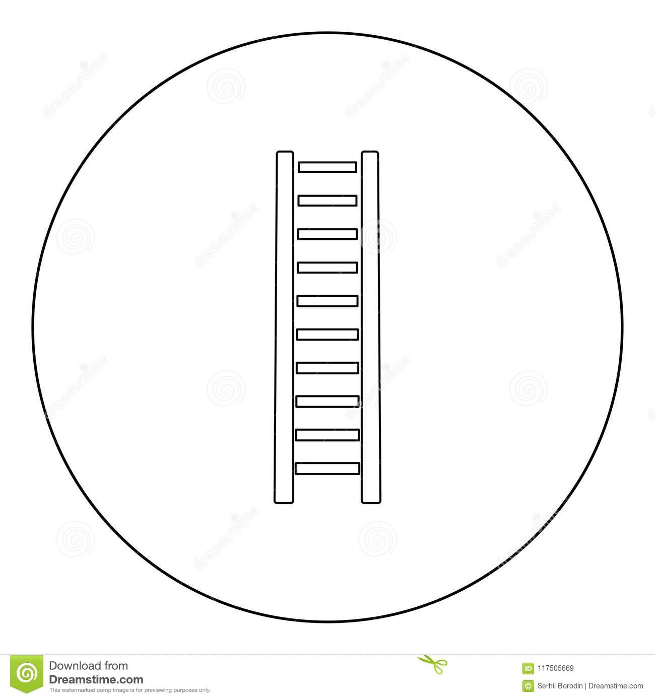 Wooden Step Ladder Icon Black Color In Circle Or Round Stock