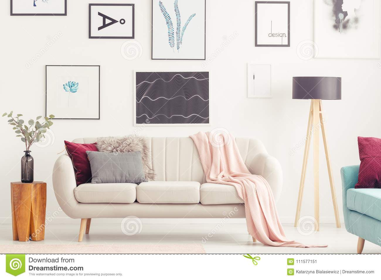Posters In Pastel Living Room Stock Image - Image of cushions ...