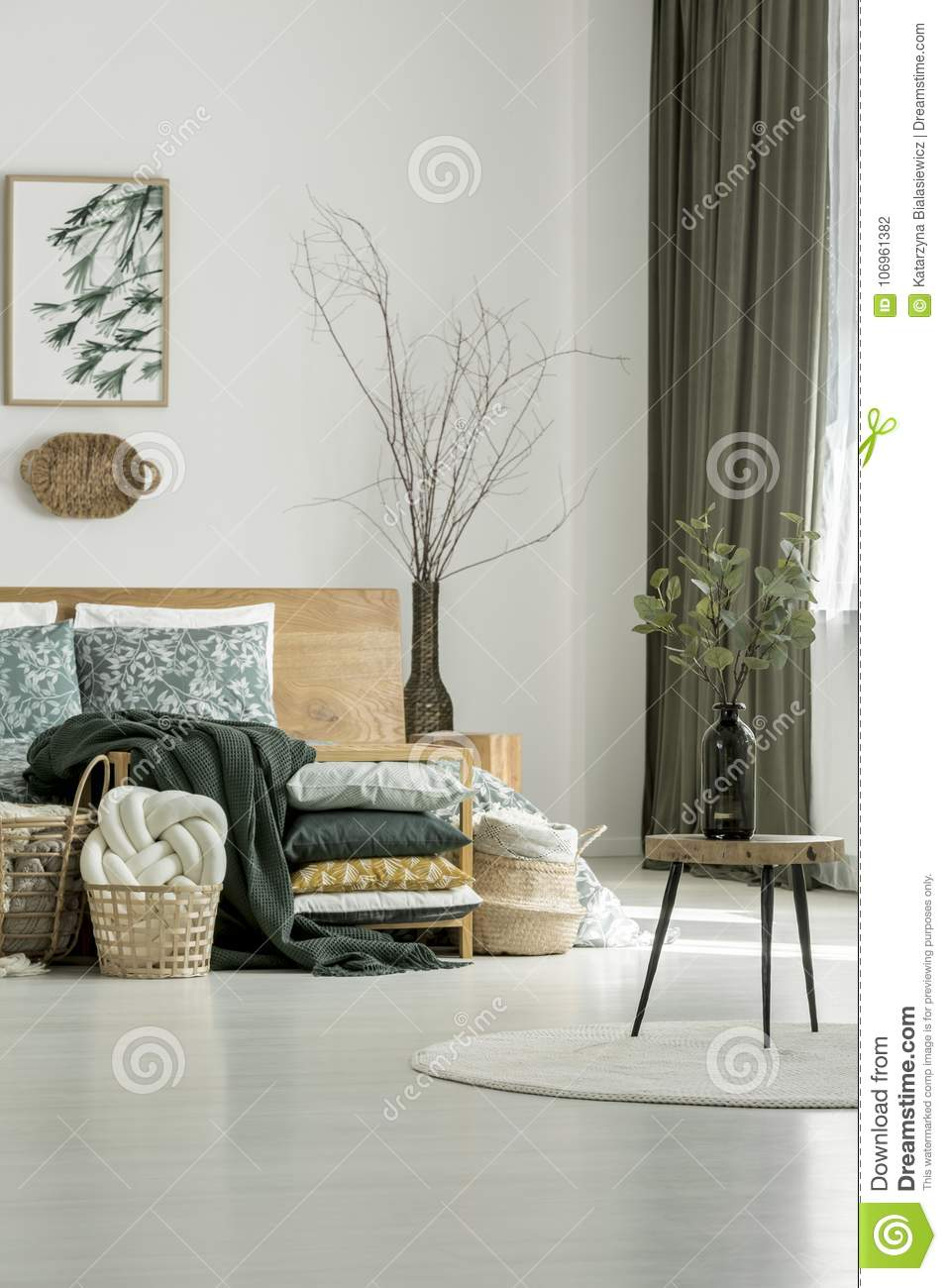 Enjoyable Wooden Stool In Olive Bedroom Stock Photo Image Of Pattern Download Free Architecture Designs Scobabritishbridgeorg