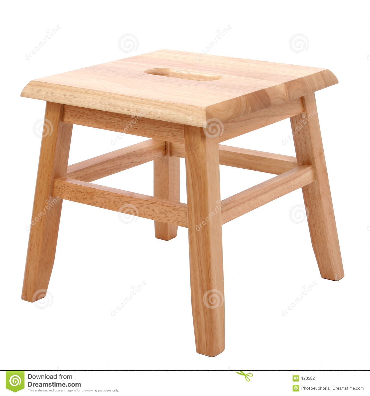 Wooden Stool Over White Stock Photography Image 120582