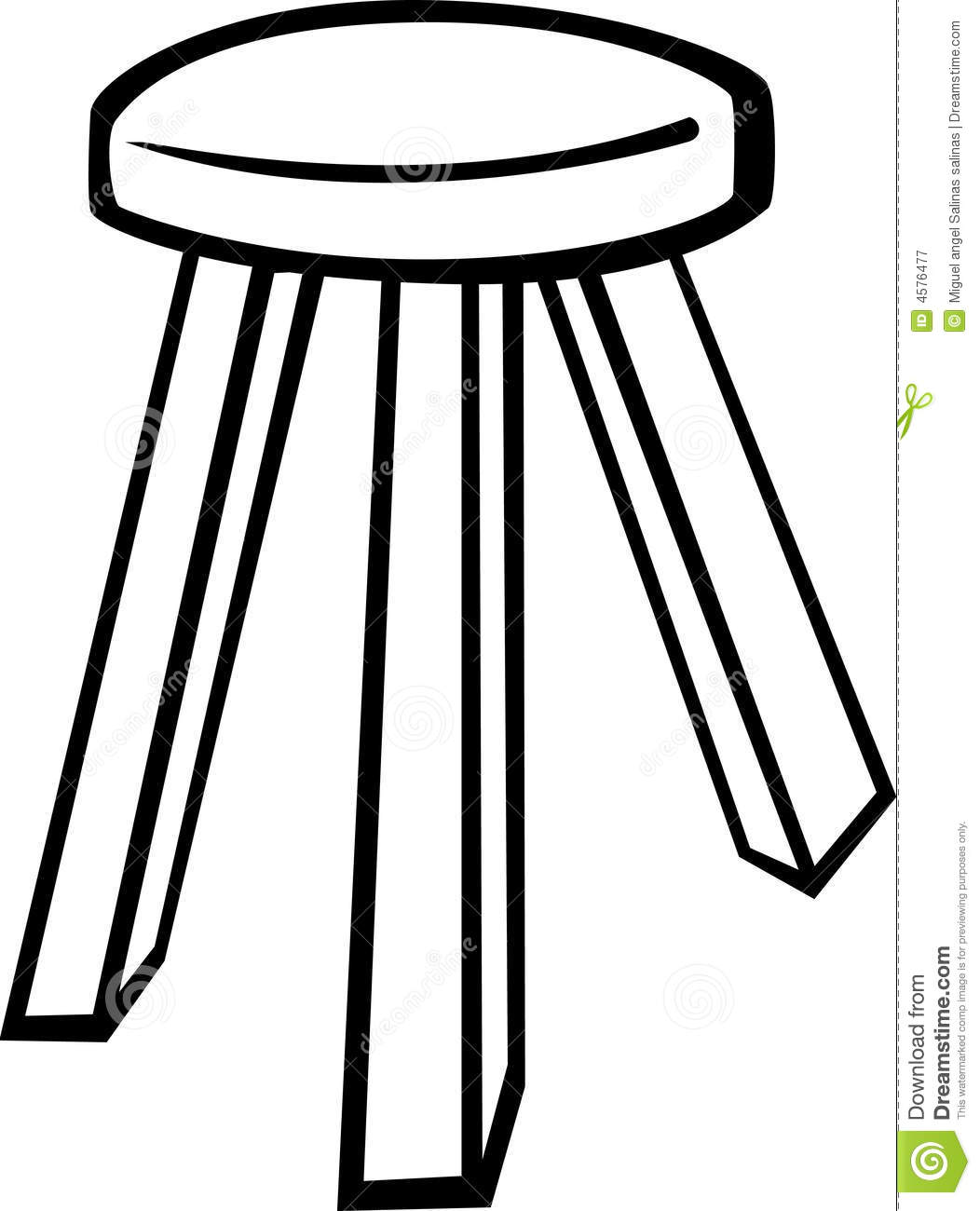 Wooden Stool Vector Illustration Stock Vector