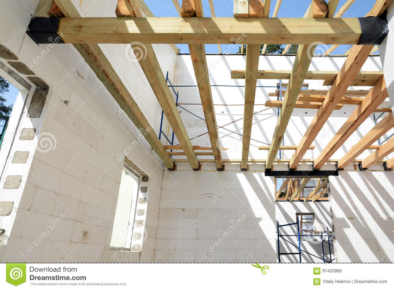 The Wooden Structure Of The Building  Installation Of Wooden Beams