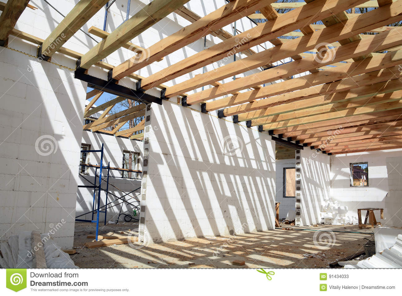 Download comp & The Wooden Structure Of The Building. Installation Of Wooden Beams ...