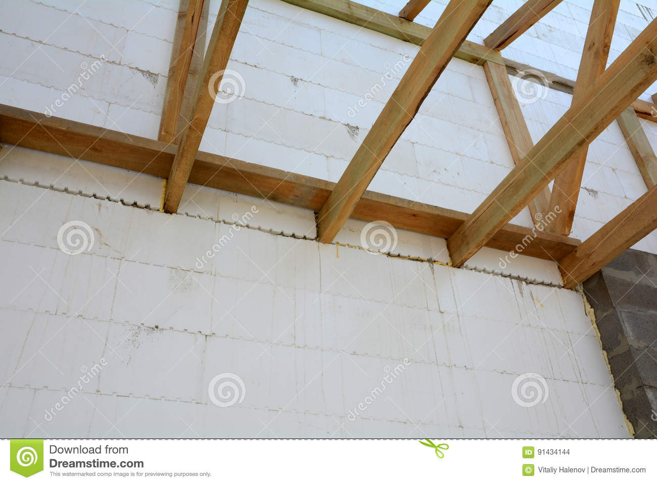 The Wooden Structure Of The Building. Installation Of Wooden Beams ...