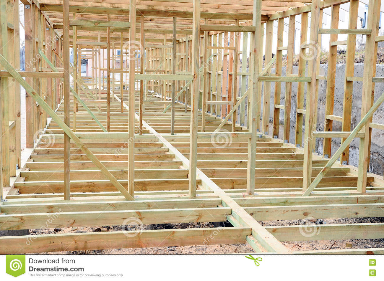 the wooden structure of the building wooden frame building - Wood Frame Building