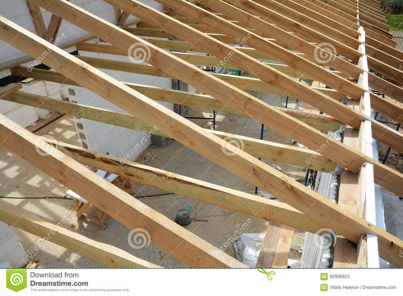 The Wooden Structure Of The Building Wooden Frame Building
