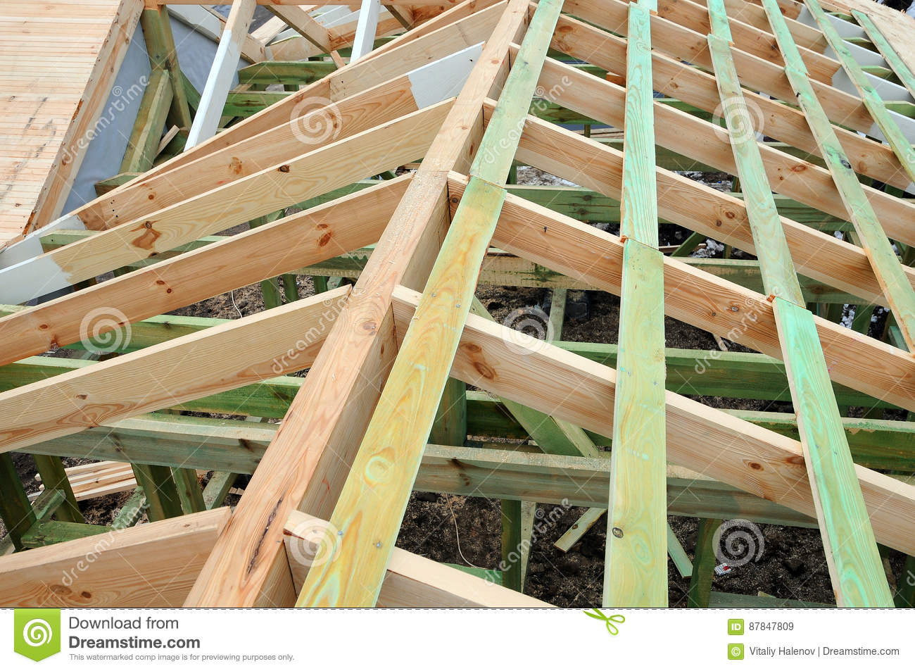 The Wooden Structure Of The Building Wooden Frame Building Wooden