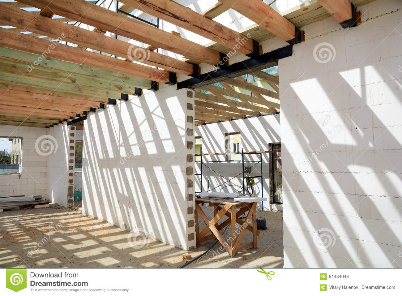 The Wooden Structure Of The Building. Wooden Roof Frame Building ...