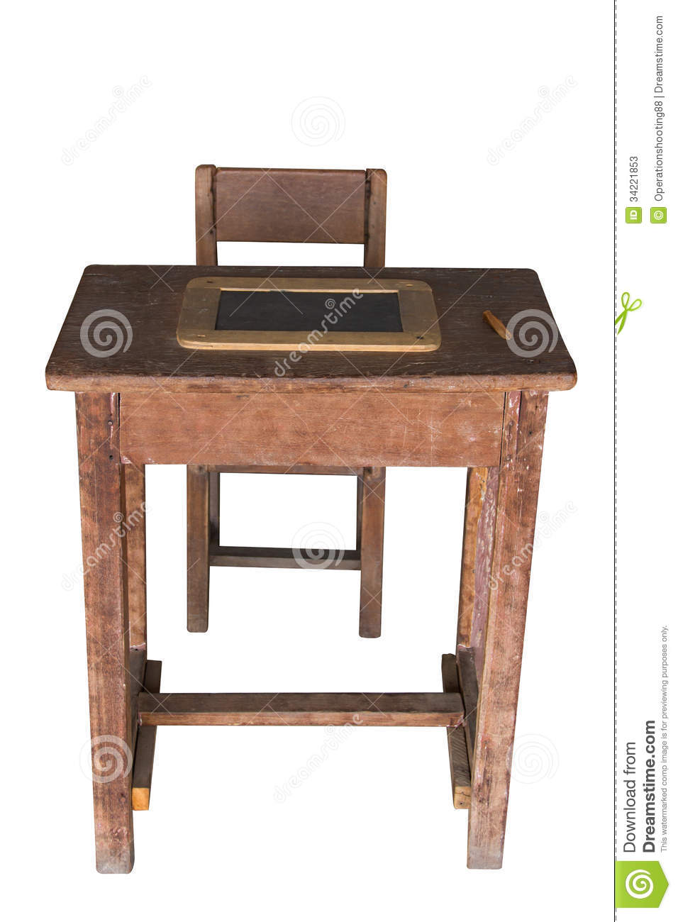Wooden Student Desk And Chair With Slate Stock Photos