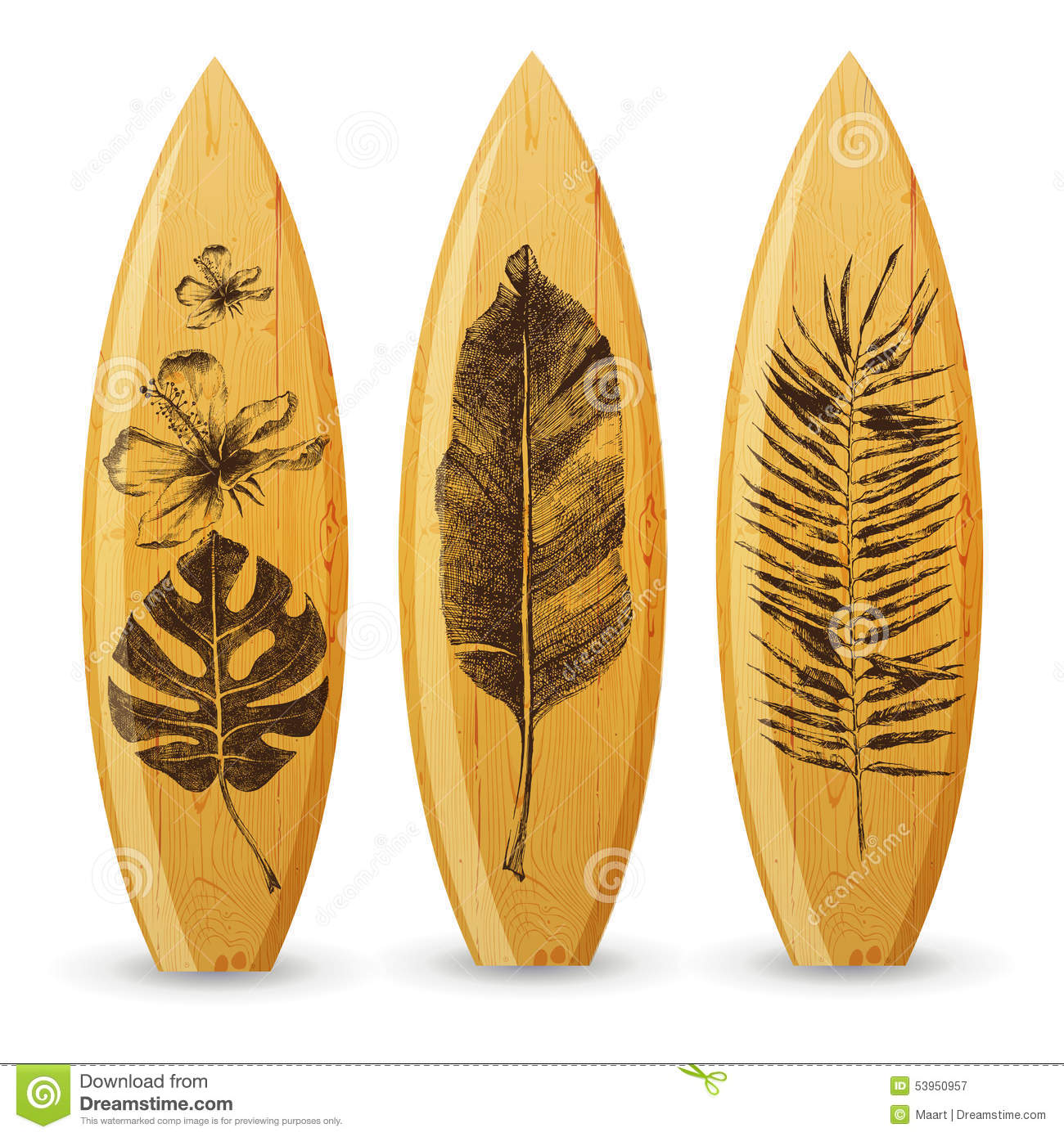 Deco Planche De Surf wooden surfboards with hand drawn tropical leaves stock