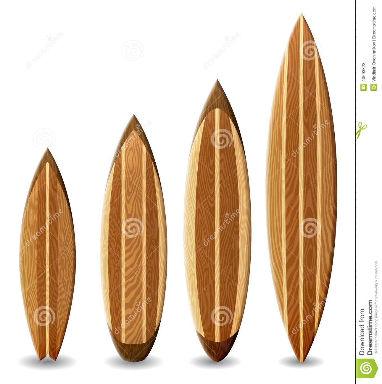 Deco Planche De Surf wooden surfboards stock illustration. illustration of