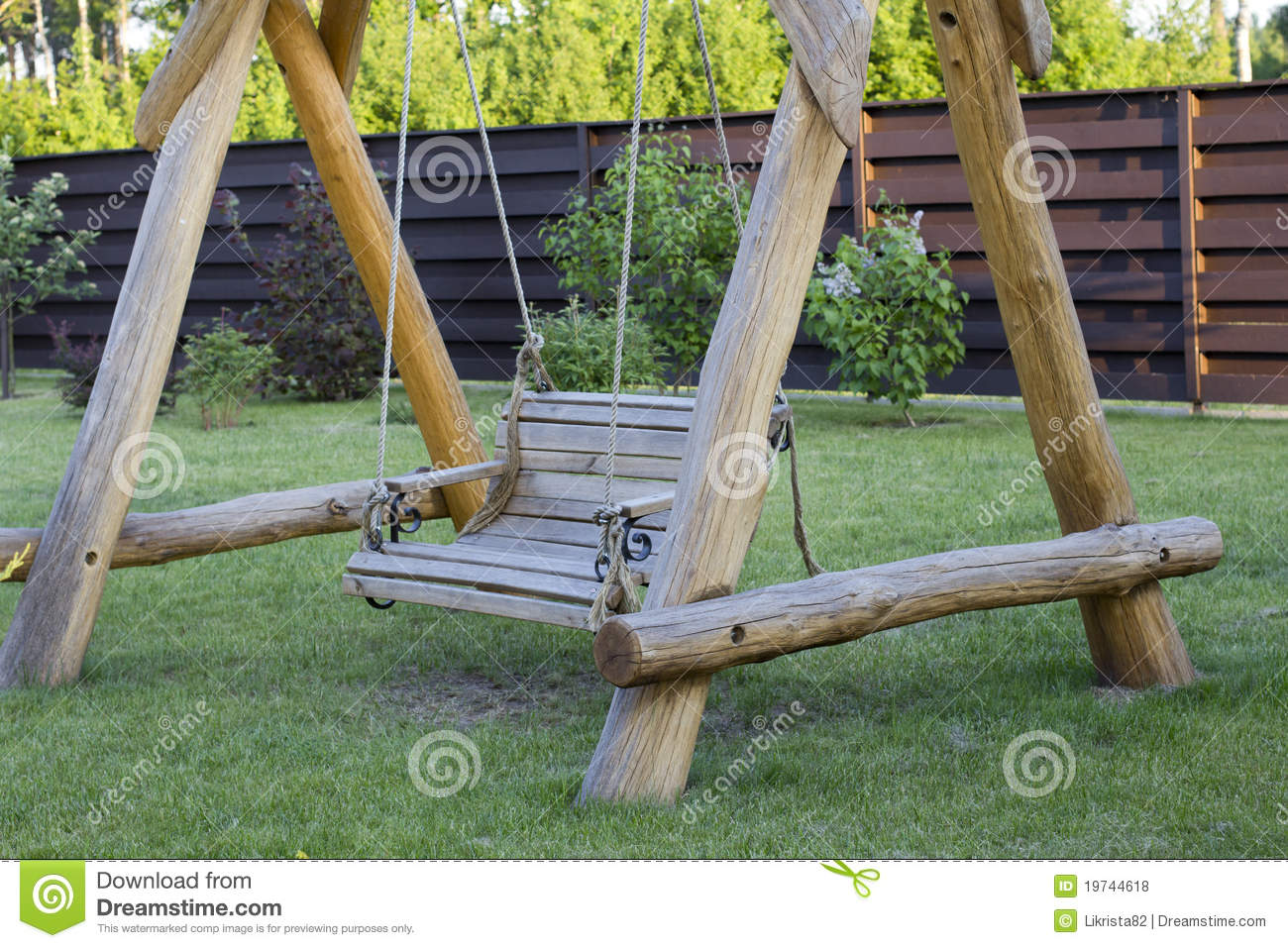 Wooden Swing Bench Stock Photo Image Of Summer Gardn 19744618