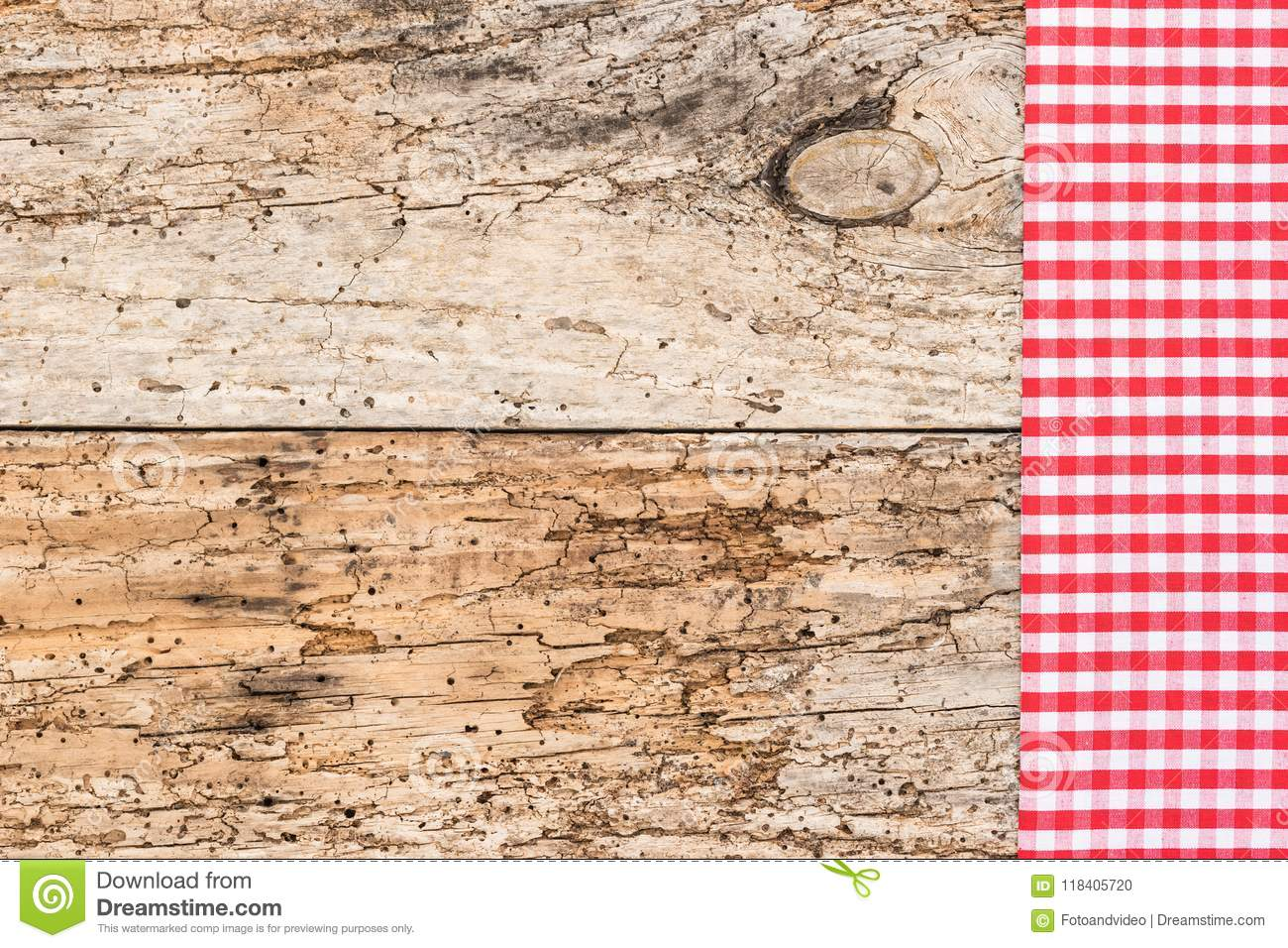 Wooden table background rustic texture, with red checkered tablecloth, high angel view