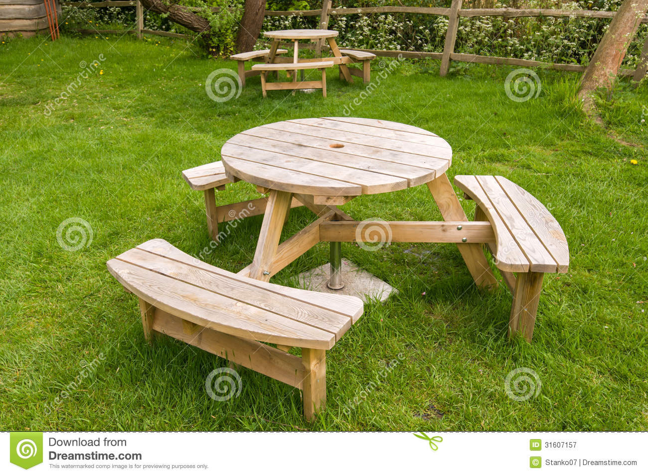 Wooden Table With Benches Royalty Free Stock Photography