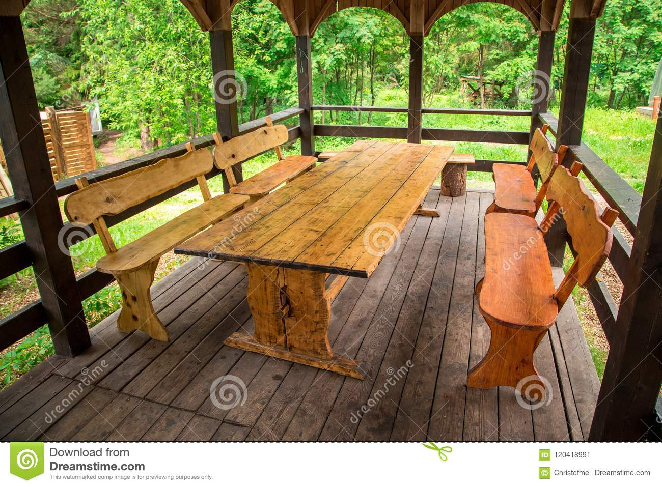 Amazing Wooden Table And Benches Of Gazebo Stock Image Image Of Forskolin Free Trial Chair Design Images Forskolin Free Trialorg