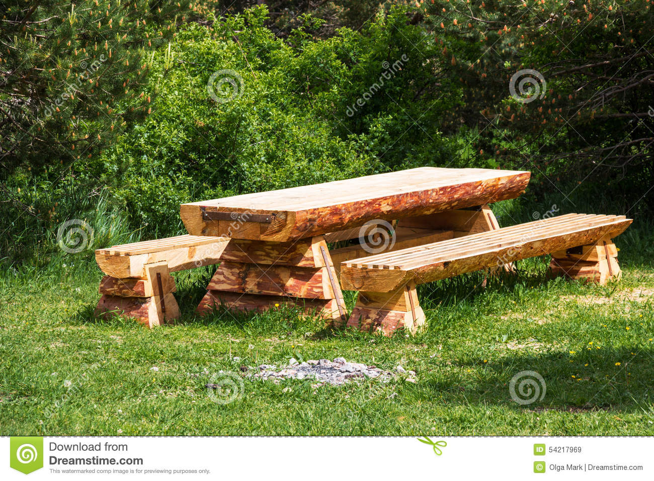 Pleasant Wooden Table With Benches In A Pine Forest Stock Image Gmtry Best Dining Table And Chair Ideas Images Gmtryco