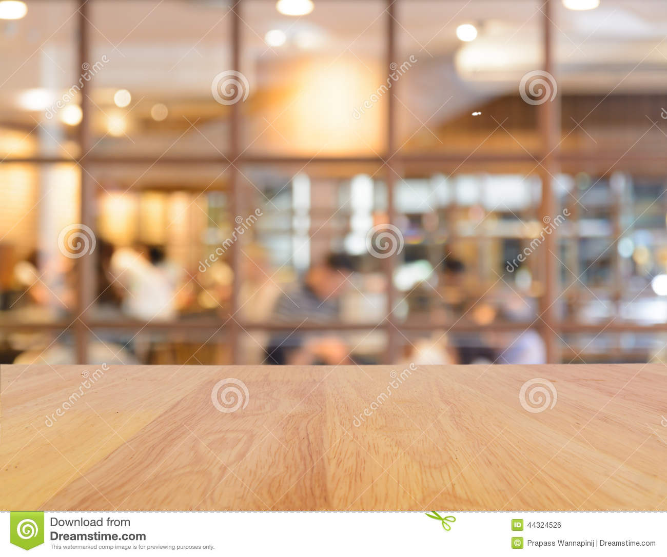 Wooden table and blur restaurant stock photo image 44324526 for Table background