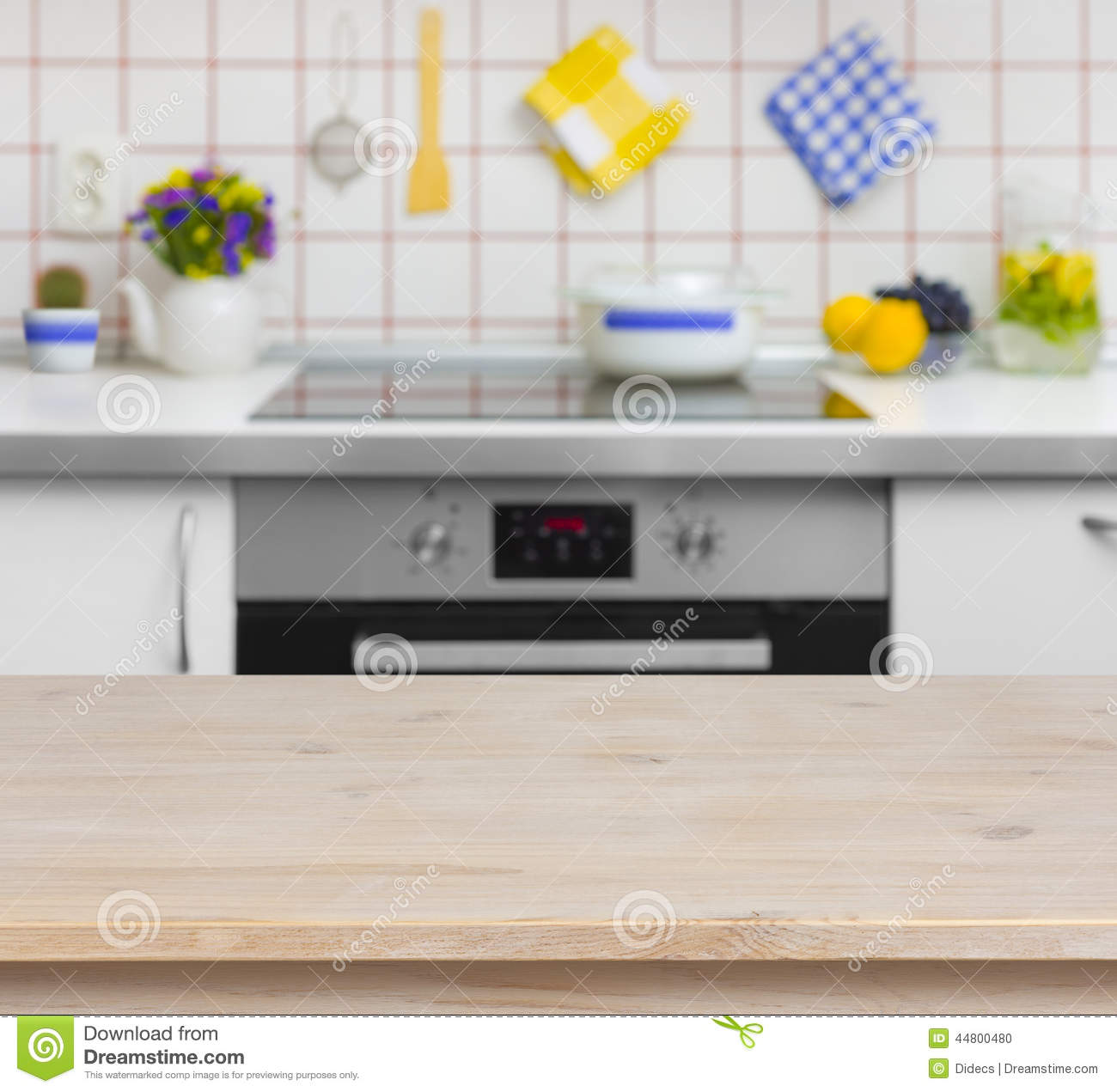 Wooden Table On Blurred Background Of Kitchen Bench Stock Photo ...