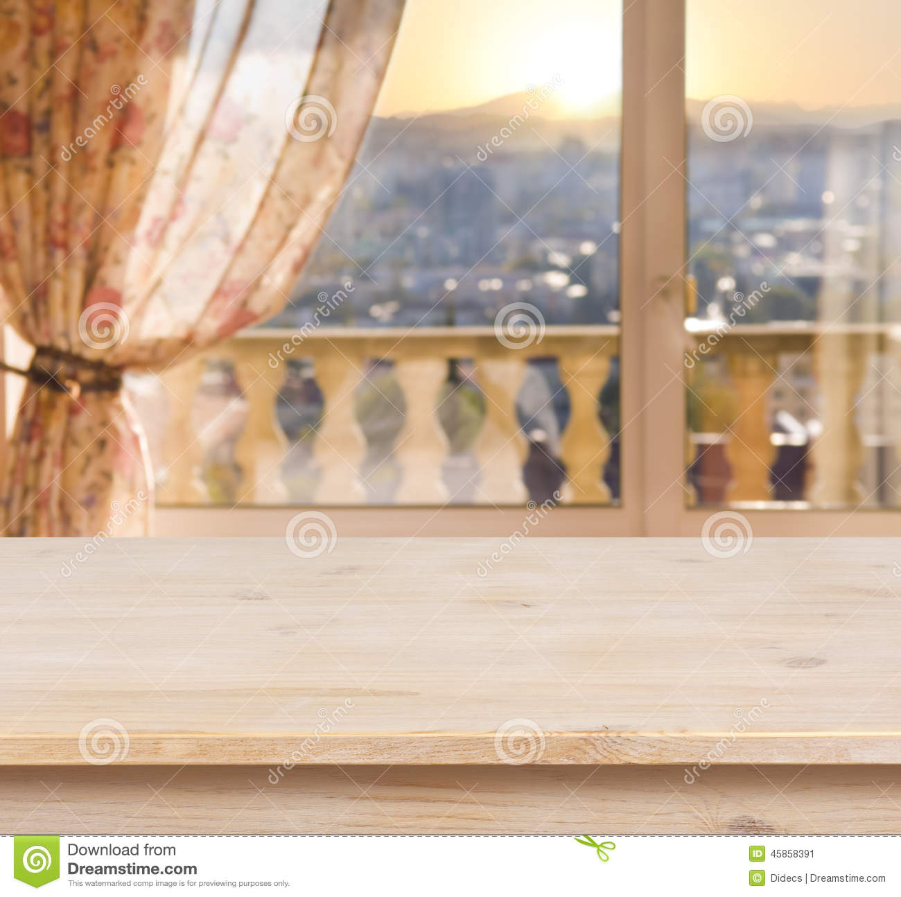 Wooden Table On Blurred Balcony Window Background Stock