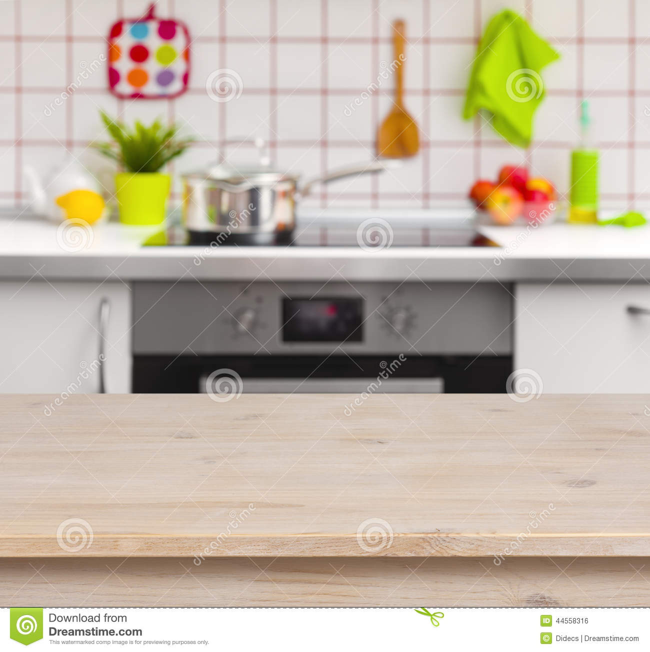 Wooden Table On Blurred Kitchen Bench Background Stock