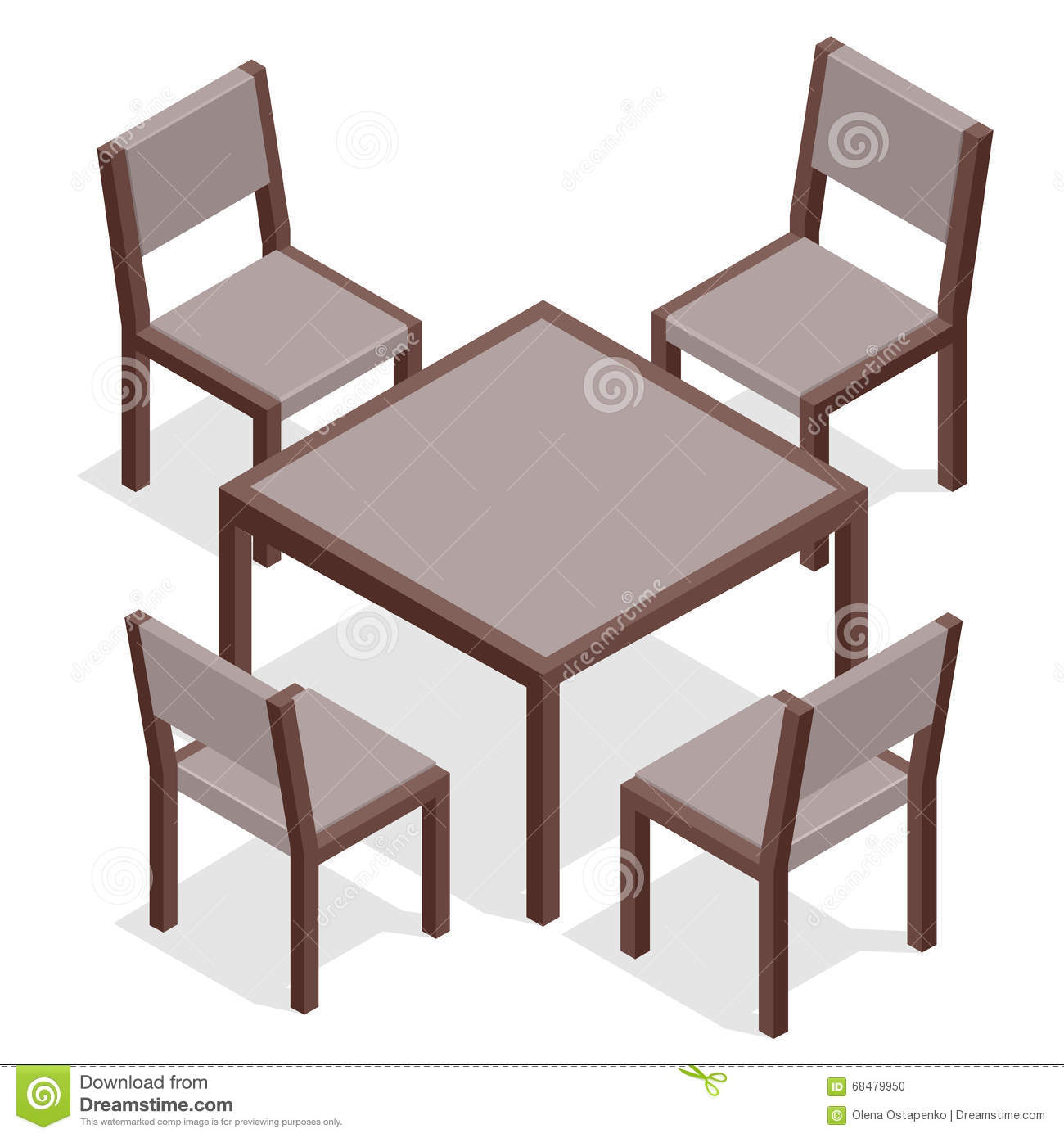 Modern cafe chairs and tables - Wooden Table With Chairs For Cafes Modern Table And Chairs On White Background Flat