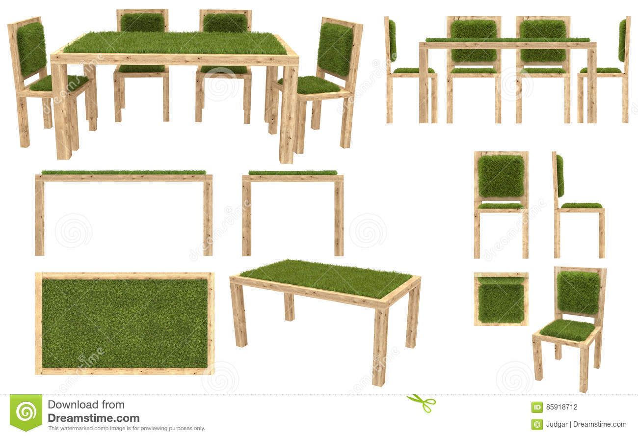 Royalty Free Vector. Download Wooden Table And Chairs With Grass Cover. Garden  Furniture. Top View ...