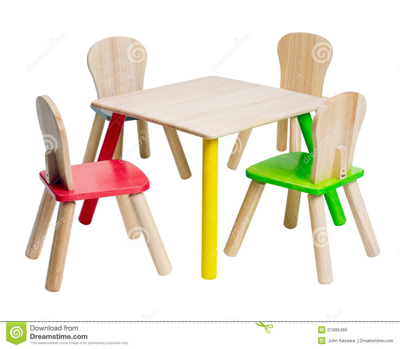 Colorful wooden table and chair toy for children to enjoy there ...