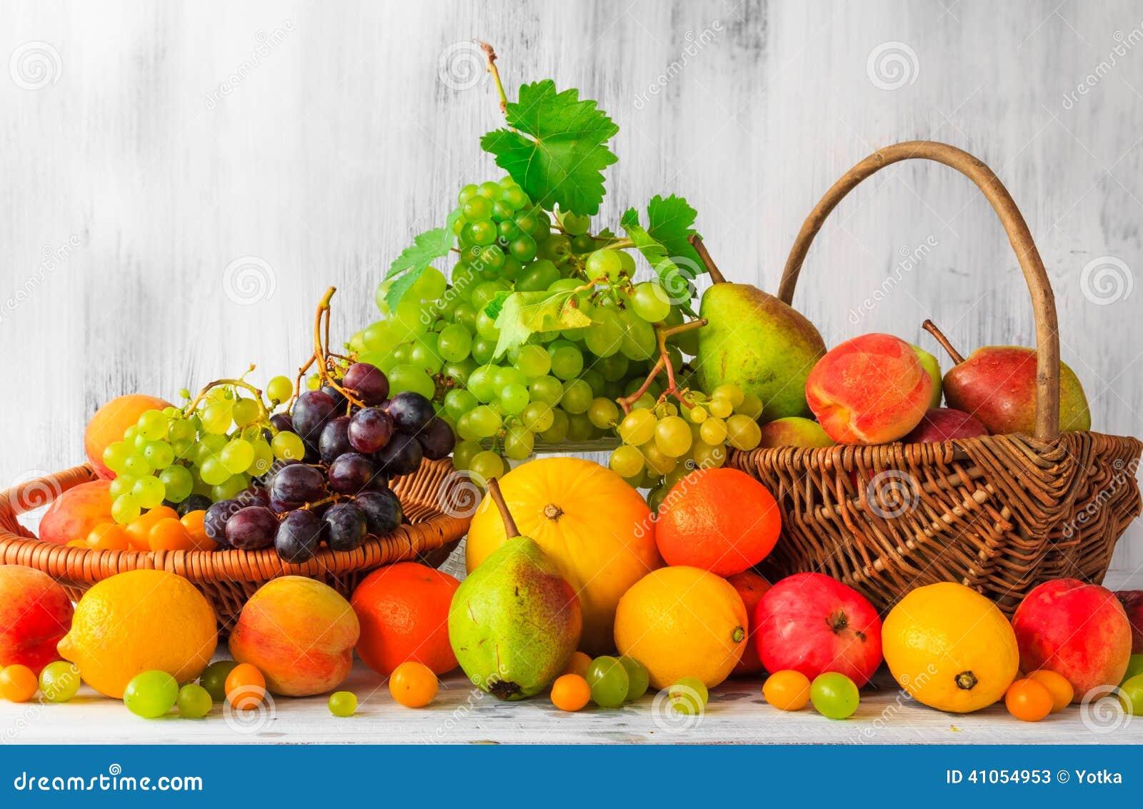 Foodesign Fresh Fruit Basket: Wooden Table Full Fresh Fruit Baskets Stock Image