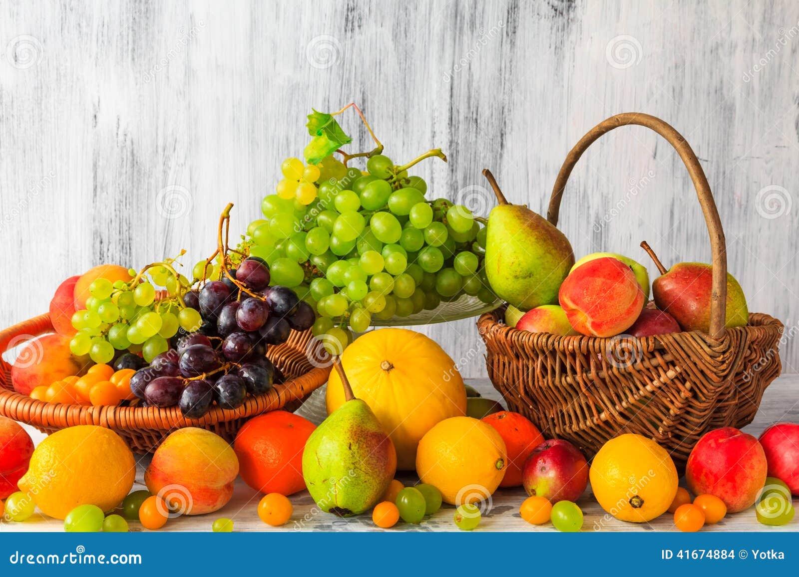 Foodesign Fresh Fruit Basket: Wooden Table Full Fresh Fruit Baskets Stock Photo