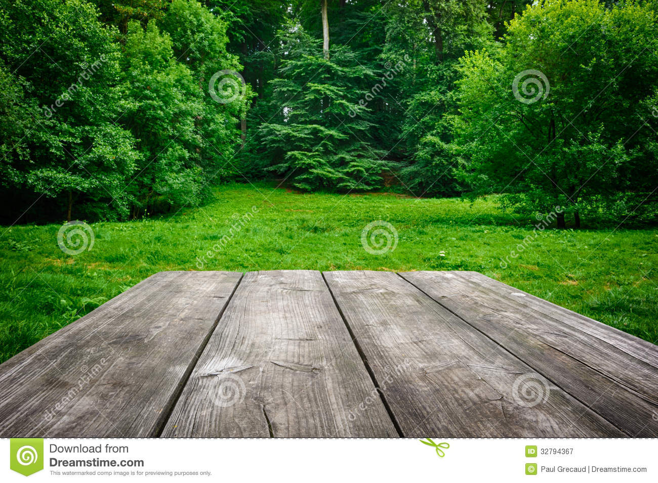 Wooden Table With Green Nature Background Stock Image ...