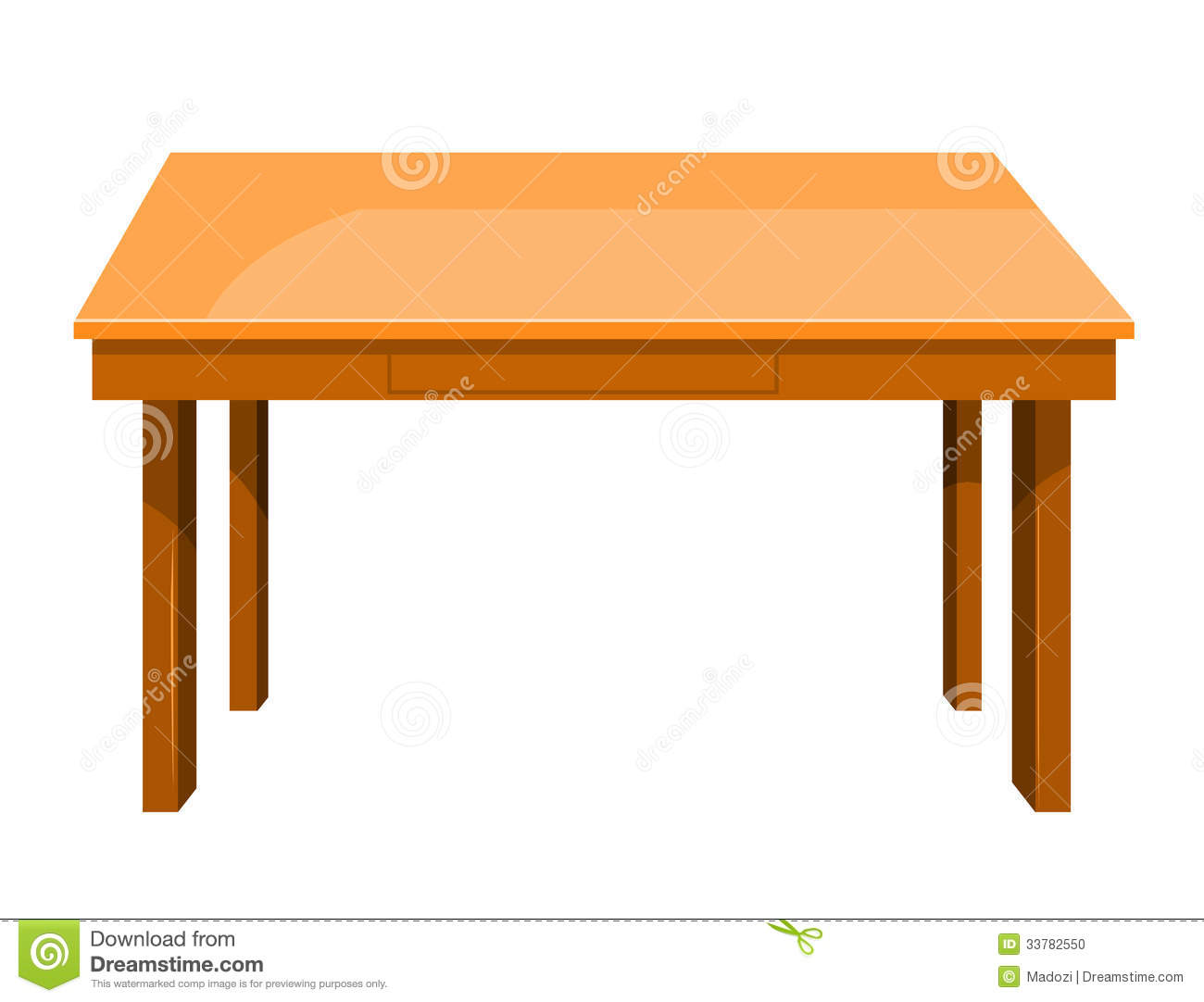 Wooden Table Isolated Illustration Stock Photo Image