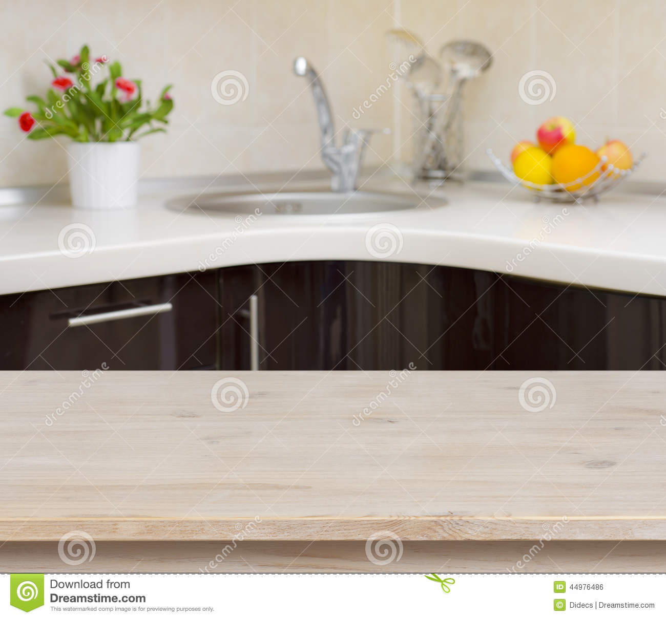 Kitchen Background Image: Wooden Table On Kitchen Faucet Interior Background Stock