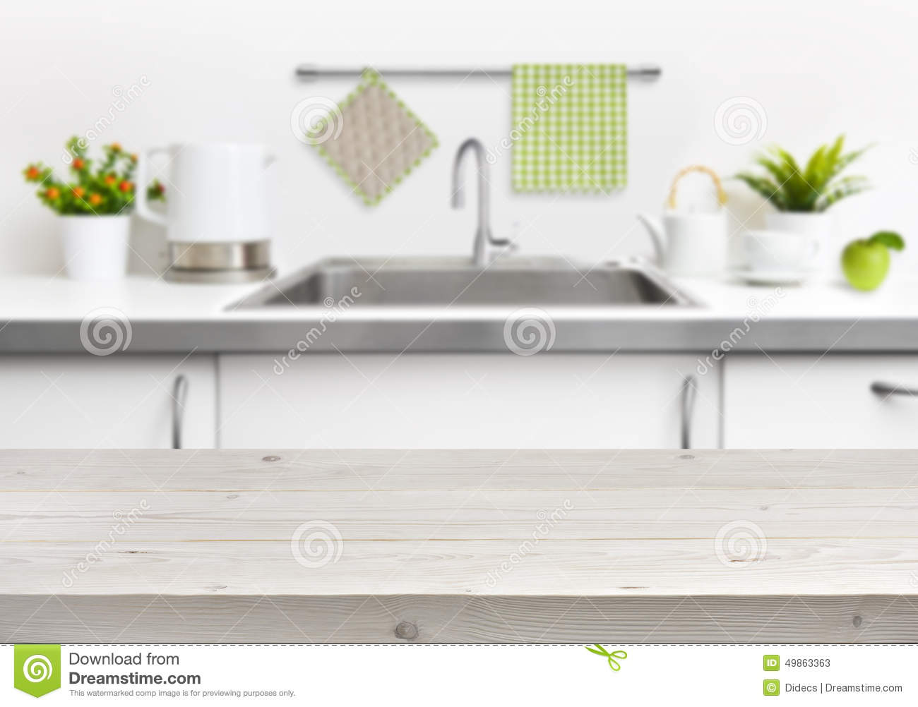 Wooden table on kitchen sink interior background stock for Wooden tabletop kitchen