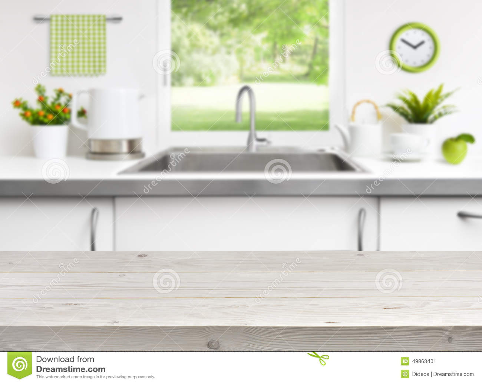 Wooden table on kitchen sink window background stock photo - Cucine con finestra sul lavello ...