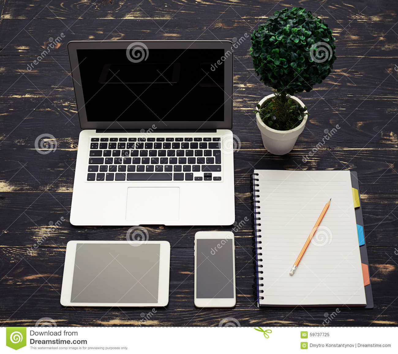 Wooden Table With Office Accessories Stock Photo Image 59737725
