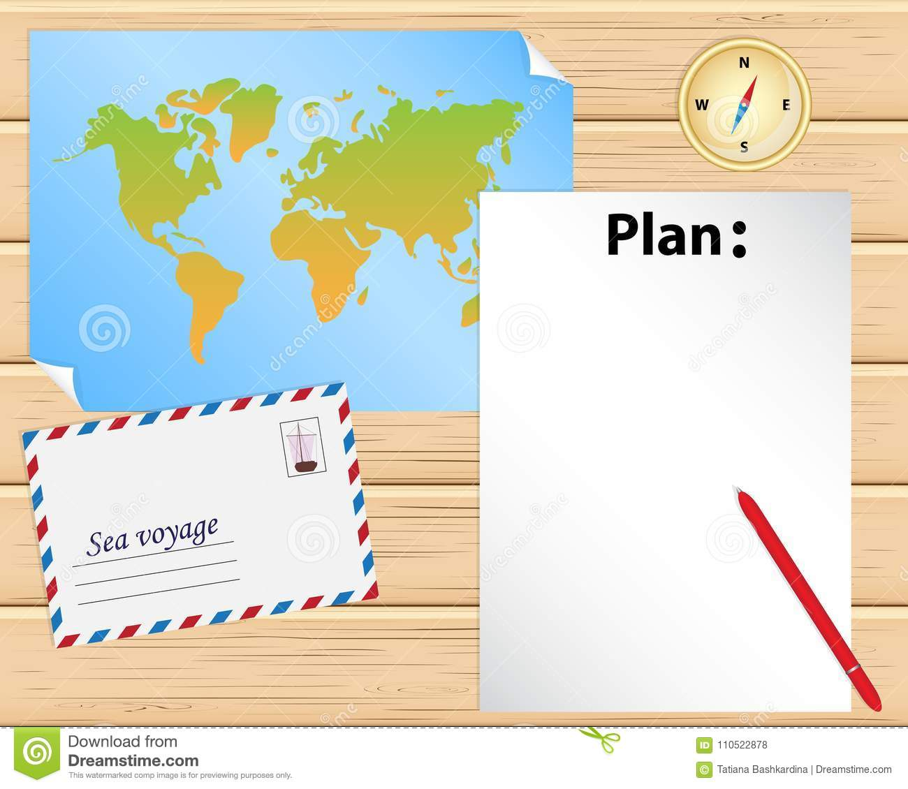 Wooden Table With Paper World Map Blank Sheet Of Paper To Plan