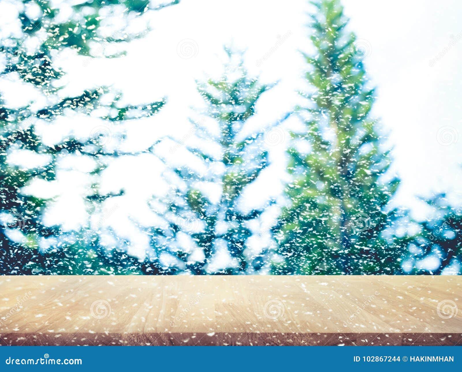 Christmas Counter.Wooden Table On Pine Tree And Snowfall Christmas Decoration