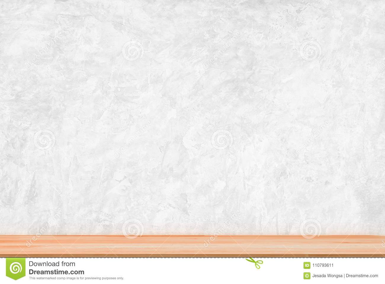 Wooden Table Top On Grunge Concrete Wall Background Template Display