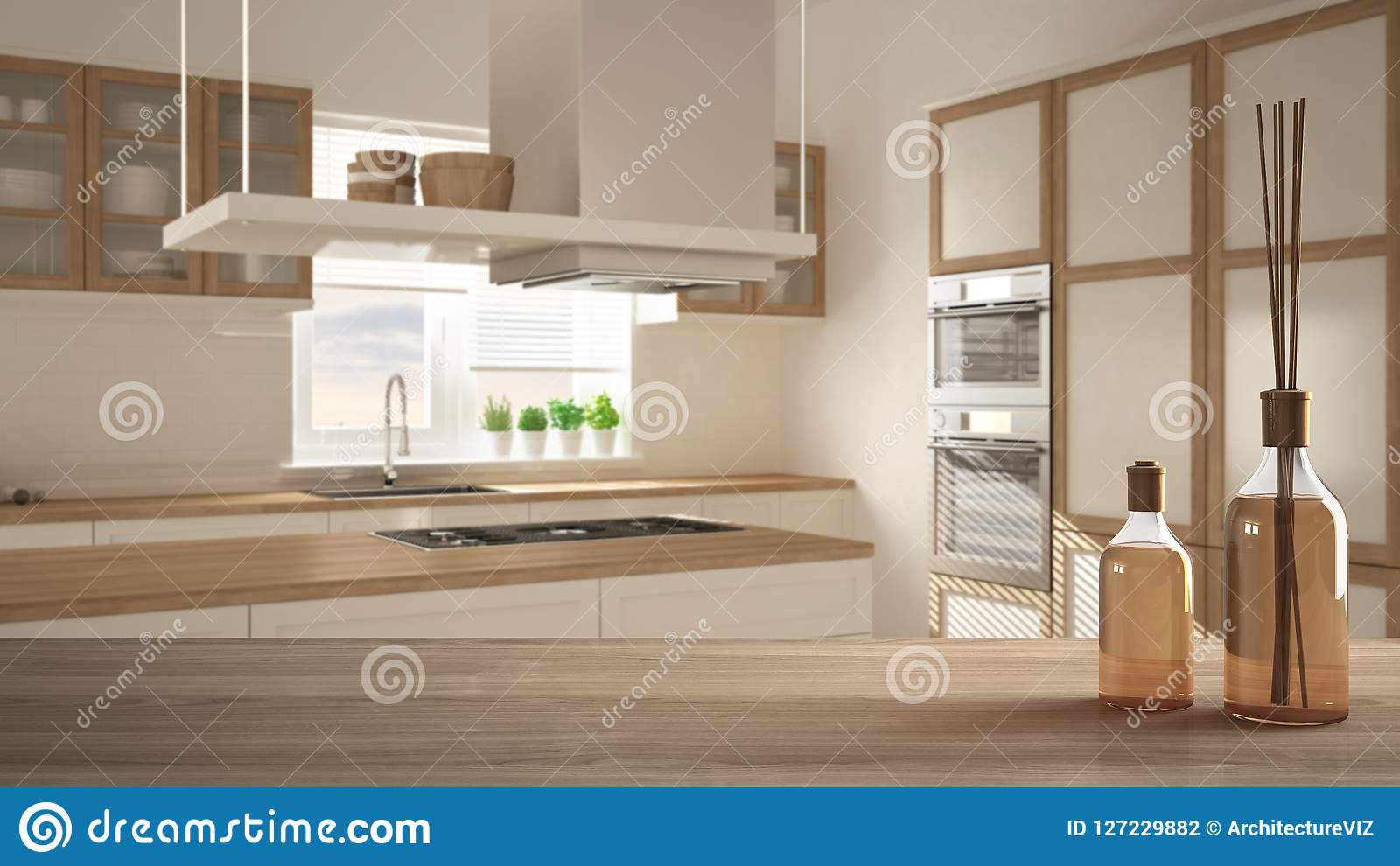 Wooden Table Top Or Shelf With Aromatic Sticks Bottles Over Blurred Modern Kitchen With Island White Architecture Interior Stock Illustration Illustration Of Aromatic Table 127229882