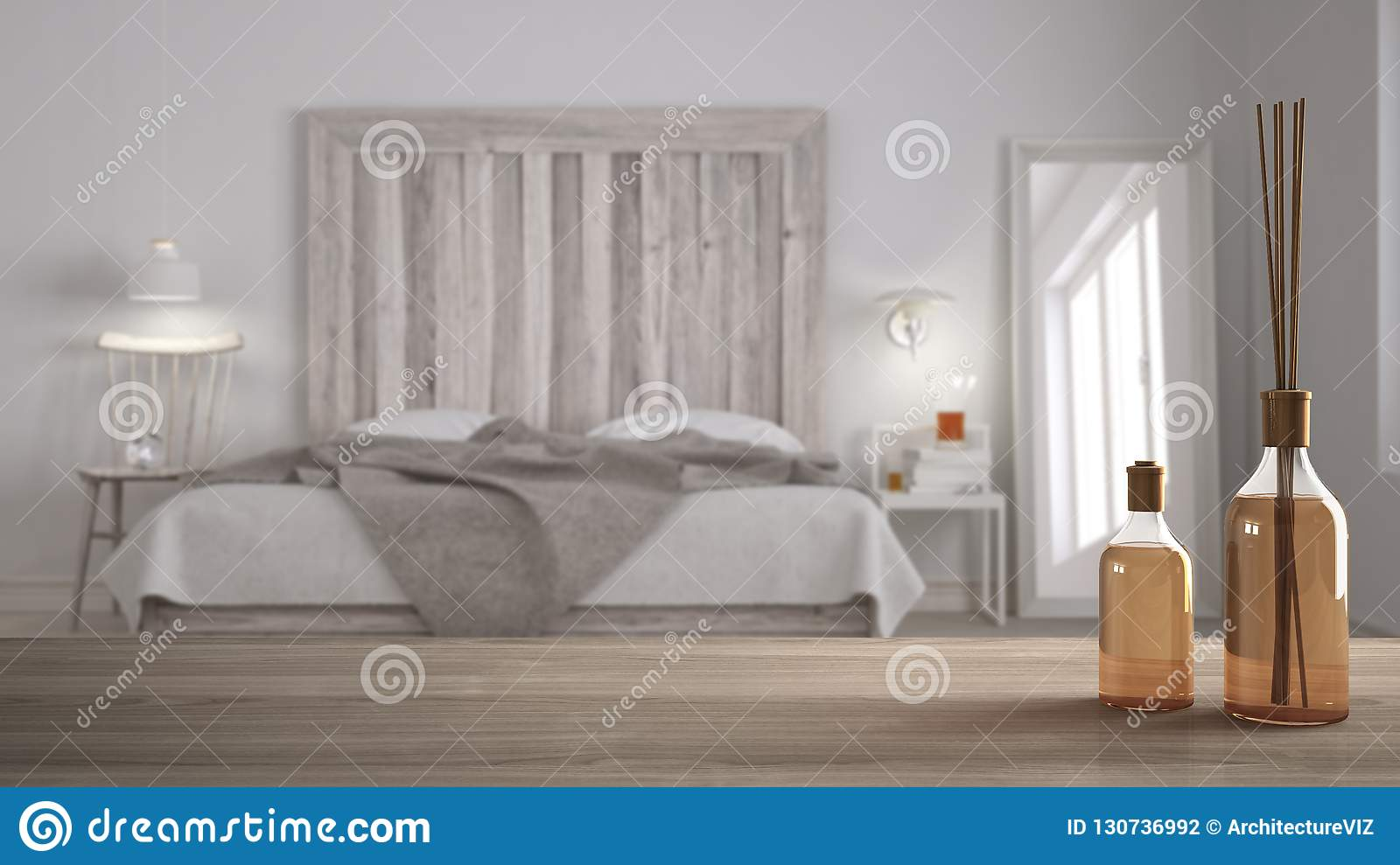 Wooden Table Top Or Shelf With Aromatic Sticks Bottles Over Blurred Scandinavian Bedroom With Homemade Headboard White Architectu Stock Photo Image Of Aromatic Headboard 130736992