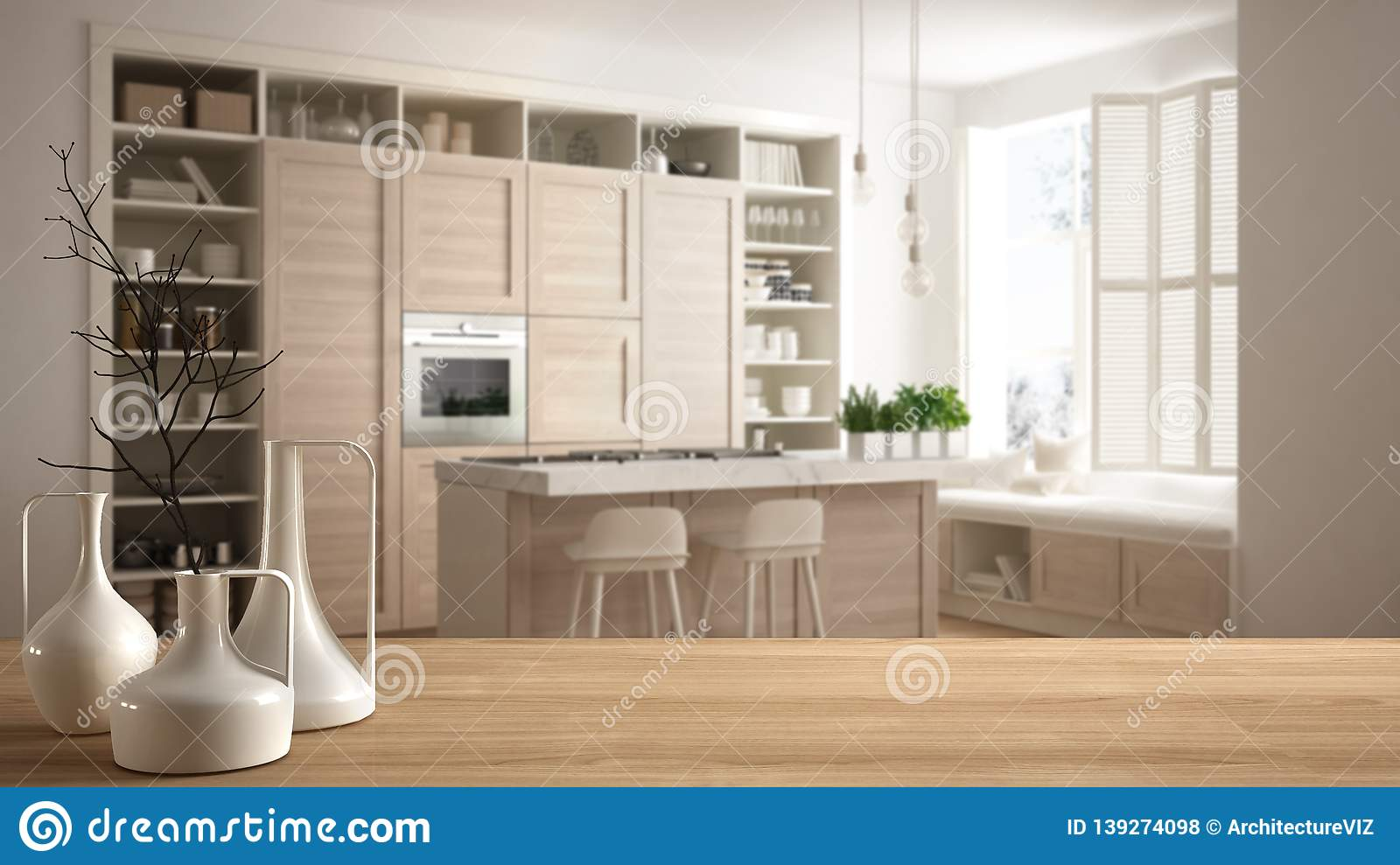 Wooden Table Top Or Shelf With Minimalistic Modern White Kitchen