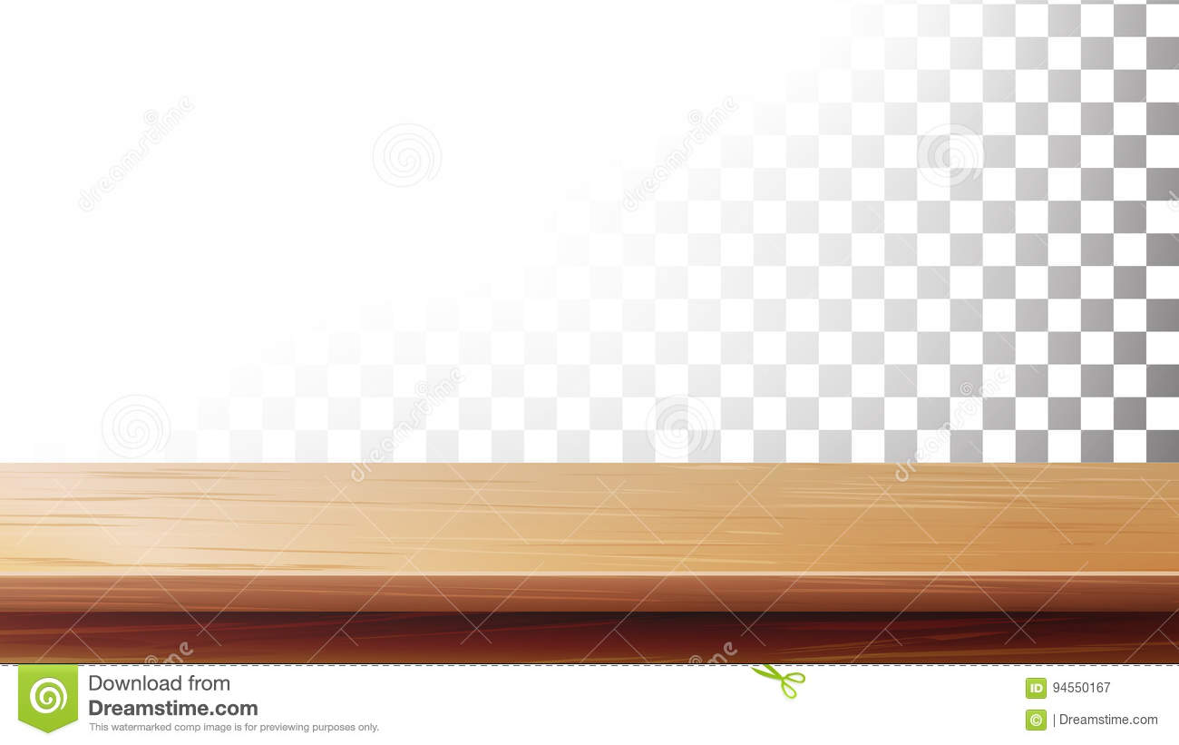 Wooden Table Top Vector Isolated On Transparent